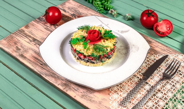 Traditional mangal salad with dill and tomatoes.