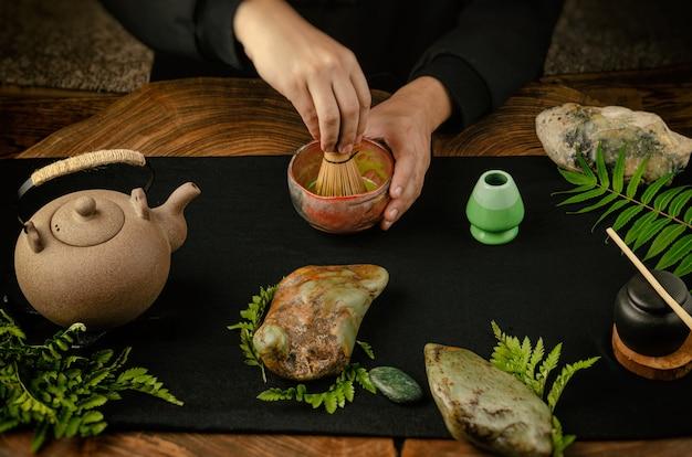The traditional matcha tea preparation