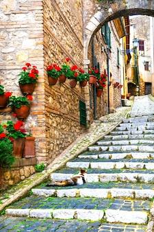 Традиционные средневековые деревни италии, живописные старинные улочки касперии, провинция риети
