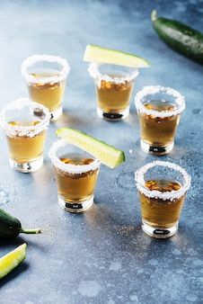 Traditional mexical tequila with cucmber