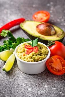 Traditional mexican avocado sauce guacamole