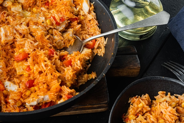 Traditional mexican enchiladas with chicken meat, rice and cheese mexican cuisine.
