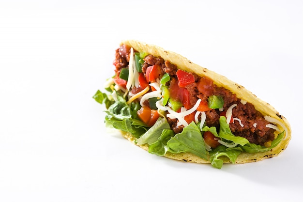 Traditional mexican tacos with meat and vegetables isolated on white copy space