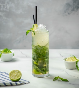 Traditional mojito with ice and mint on the table