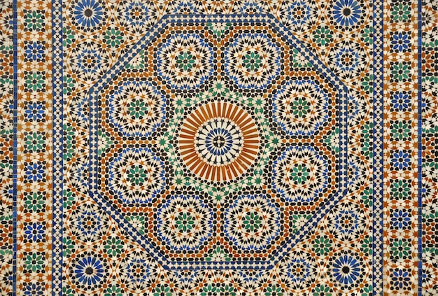 Traditional moroccan mosaic, geometric pattern on the facade of a house in meknes