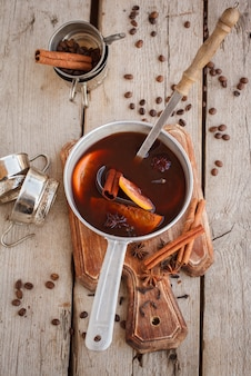 Traditional mulled wine with spices.christmas drink.