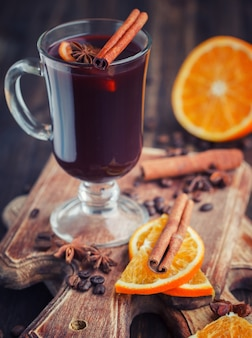 Traditional mulled wine with spices.christmas warming drink