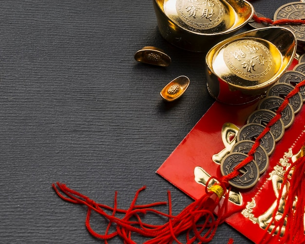 Traditional new year chinese objects high view