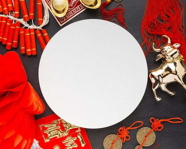 Traditional new year chinese ox circular copy space