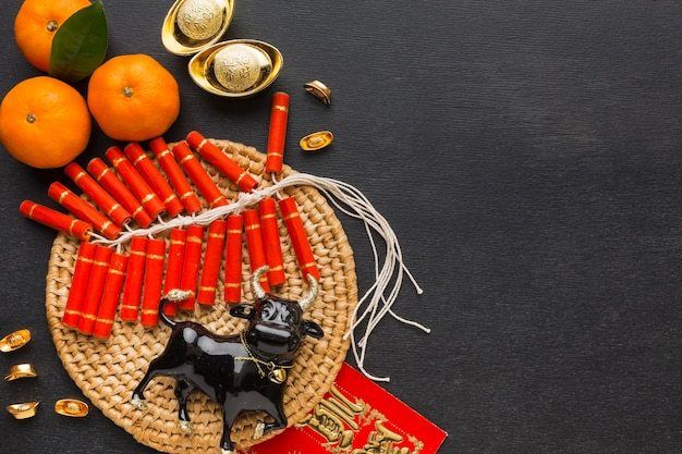 Traditional new year chinese ox and firecrackers