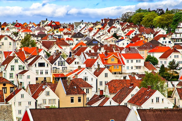 Traditional norwegian town with houses built close together