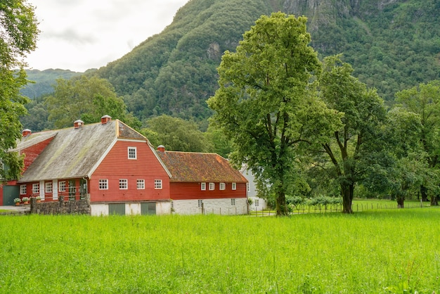 Traditional norwegian village red house, norway, rosendal