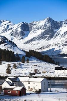 전통적인 노르웨이 목조 주택은 피요르드 해안과 멀리 산에 서 있습니다. 로포텐 제도. 노르웨이. 세계 여행