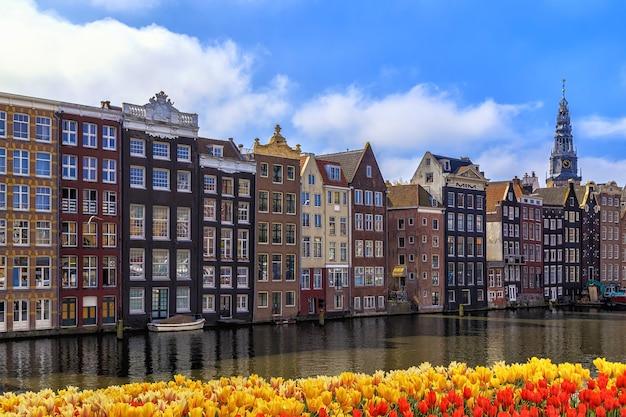 암스테르담, 네덜란드의 전통적인 오래된 건물.