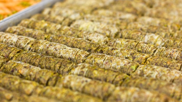 Traditional oriental dessert - baklava with pistachios and walnuts.