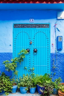 Traditional oriental doors with ornament in morocco.