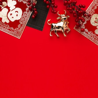 Traditional ox animal copy space new year chinese 2021