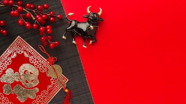 Традиционный бык животное копия пространство новый год китайский 2021
