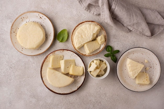 Traditional paneer cheese arrangement