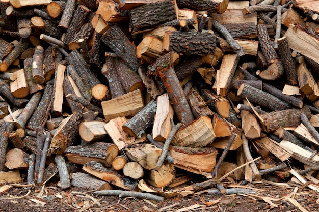 Traditional pile of chopped fire