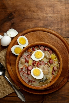 Traditional polish easter soup zurek