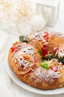 Traditional portuguese chrismas cake bolo rei