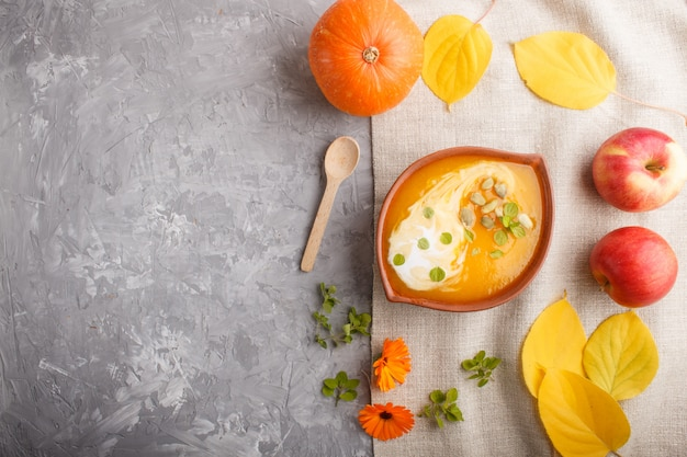 Traditional pumpkin cream soup with seeds in clay bowl on a gray concrete background. top view