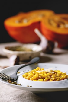 Traditional pumpkin risotto with ingredients
