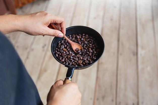 Traditional roasting of coffee