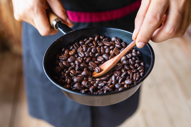 Traditional roasting of coffee