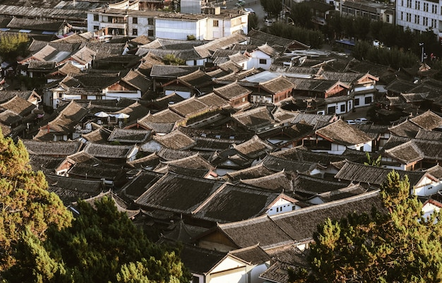 Traditional roof at the old town of lijiang
