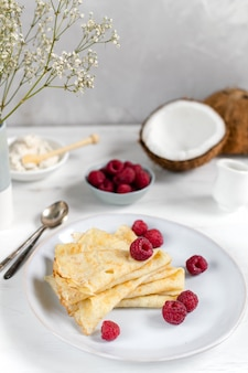 Traditional russian blini pancakes