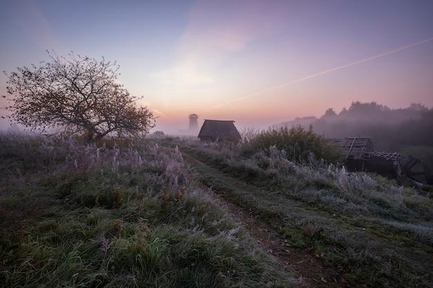 Традиционная русская деревня с деревянной мельницей в осеннем тумане с первыми заморозками на рассвете