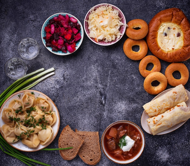 Traditional russian dishes, sweets and vodka