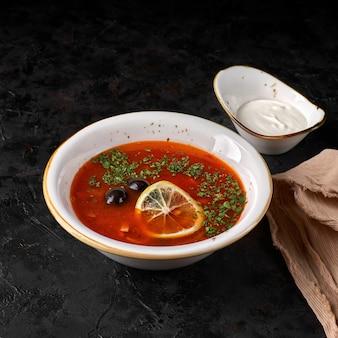 전통적인 러시아 solyanka 또는 saltwort 수프. 선택적 초점입니다.