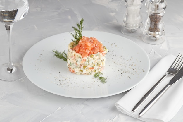 Traditional salad russian cuisine olivier