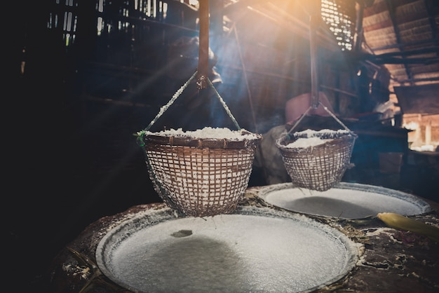 Traditional salt making at boklua district, nan province