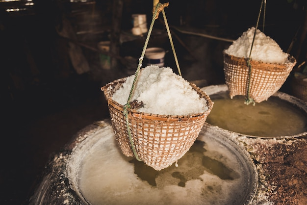 Traditional salt making at boklua district, nan province