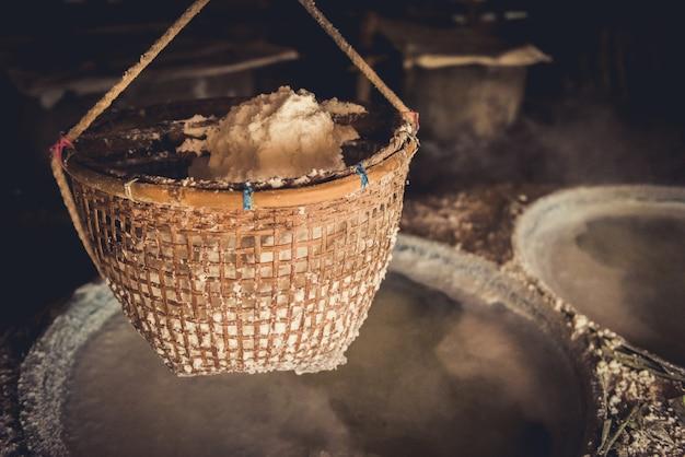 Traditional salt making at boklua district