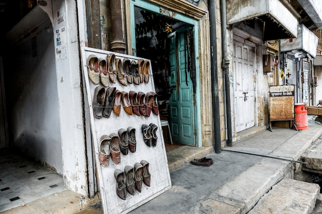 Traditional shoe shop in rajasthan, india