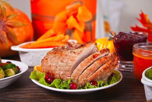 Traditional sliced ham for festive christmas or thanksgiving