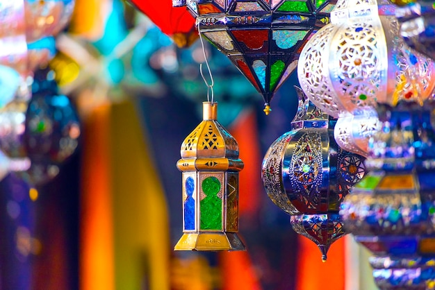 Traditional souvenir moroccan lamps at the oriental market in morocco
