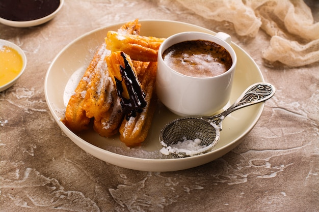 Traditional spanish dessert churros