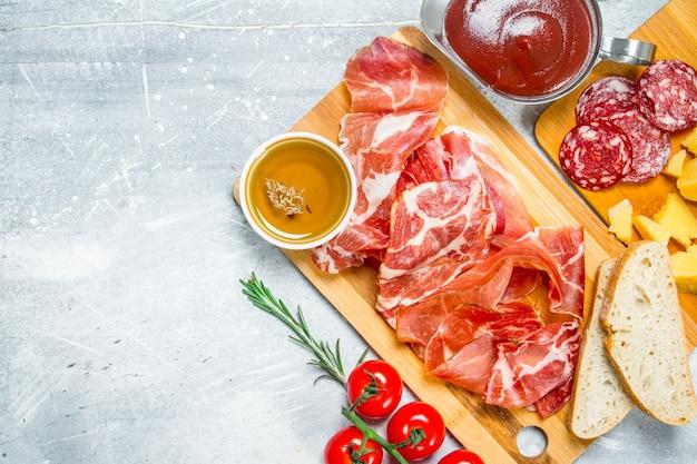 Traditional spanish ham with ciabatta.