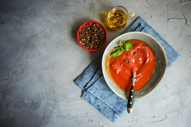 Traditional spanish tomato cream soup