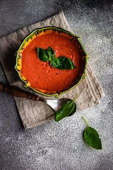 Traditional spanish tomato soup gazpacho
