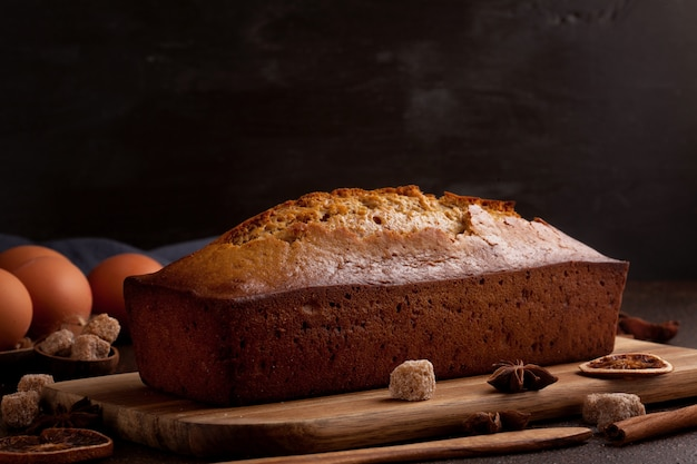 Traditional spice gingerbread cake with honey, ginger, cinnamon, nutmeg and annis