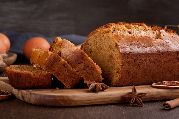 Traditional spice gingerbread cake with honey