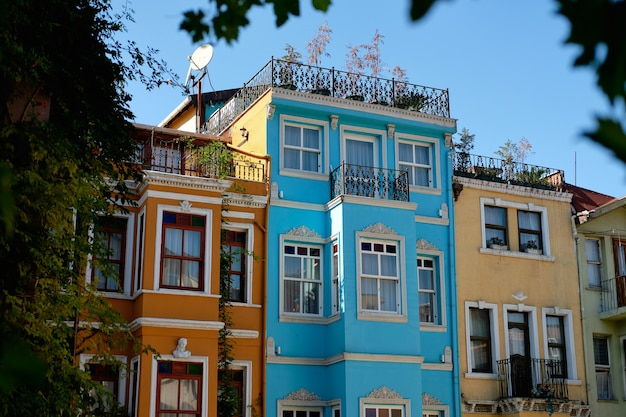 Traditional stone street and colorful houses at fener district at balat area