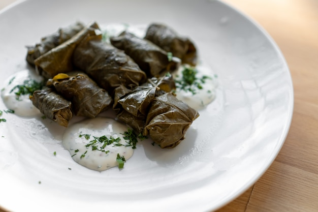 Traditional stuffed vine leaves on a large white plate with sauce